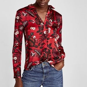 Zara Button-Up Blouse, red print (size small)